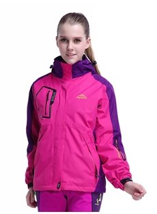 Female Outdoor 2 in 1 Fleece Waterproof Stand Collar and Removable Hat Jacket