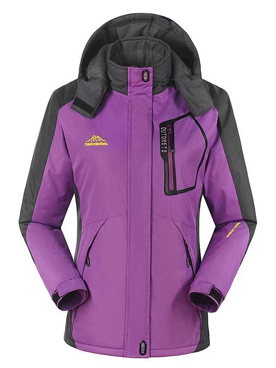 Female Outdoor Fleece Cloth with Stand Collar Thermal Zip-Front Jacket