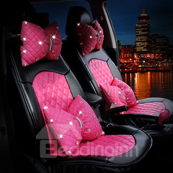 Pink Stylish Design With Diamond Decors Pu Leatherette