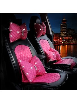 Pink Bow Style With Diamond Series And Real PU Leather Material Universal Car Seat Cover