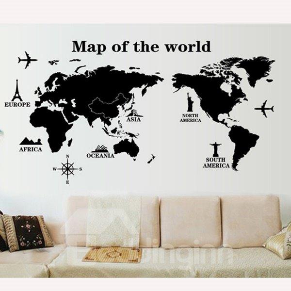 Decorative Black Map of the World Pattern Wall Sticker