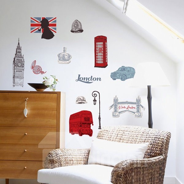 Creative European Style London Life Pattern Wall Sticker