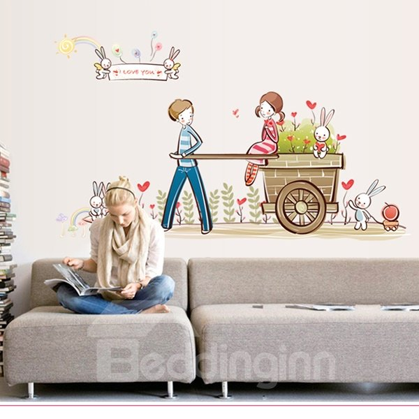 Romantic Boy and Girl Pattern Wall Sticker