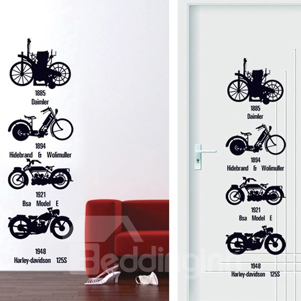 Simple Motorcycle Pattern Door and Wall Sticker