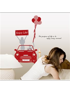 Red Enjoy Life and Car Pattern Decorative Wall Sticker