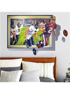 Fancy Home Decorative Rugby Pattern 3D Wall Sticker