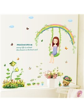 Very Cute Rainbow and Swing Pattern Wall Sticker
