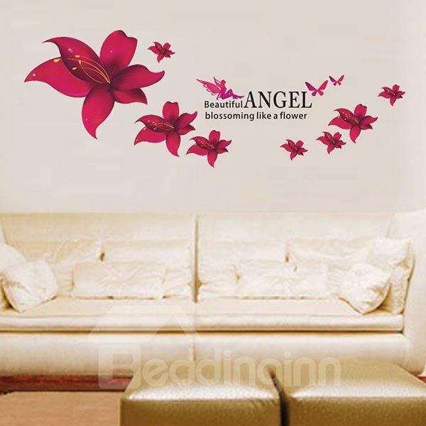 Beautiful Angel and Flower Pattern Wall Sticker