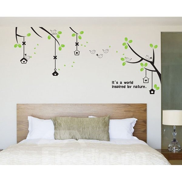 Simple Style Bird and Tree Pattern Wall Sticker