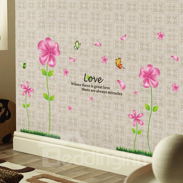 Beautiful Flower and LOVE letter Pattern Wall Sticker