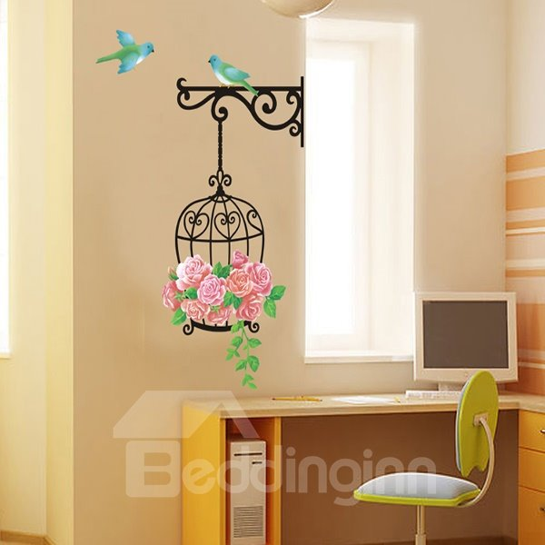 Pink Flowers and Birds Pattern Wall Sticker