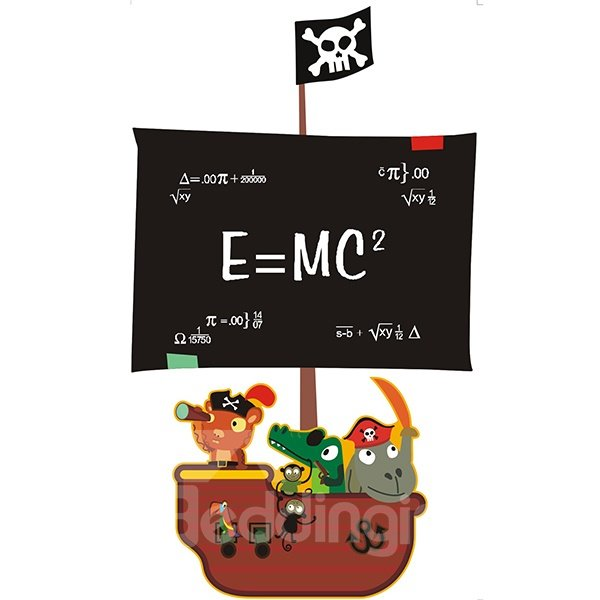 Practical Sailing Boat Shape Black Board Wall Sticker