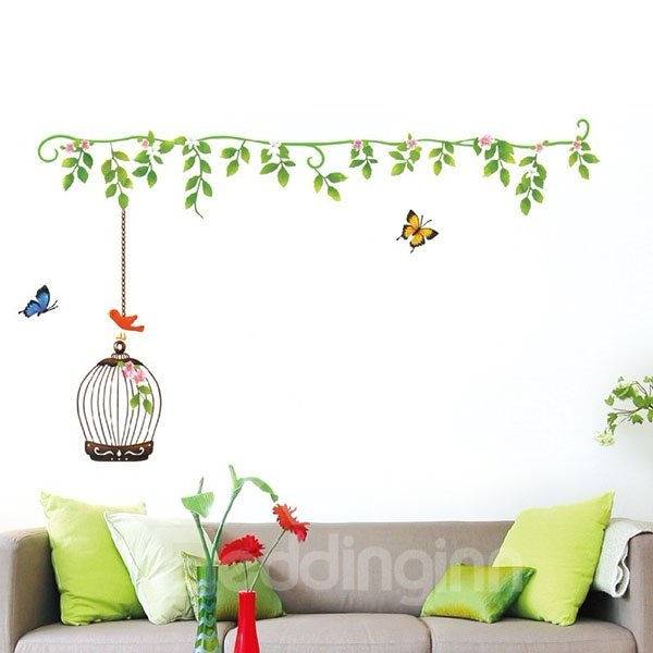 Simple Birdcage and Butterfly Pattern Wall Sticker
