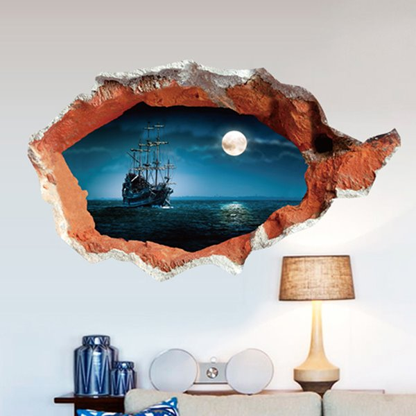 Simple Style Yacht Sailing on The Sea and Moonlight 3D Wall Sticker