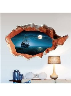 Creative Sailing Boat Moonlight Scenery Pattern Wall Sticker