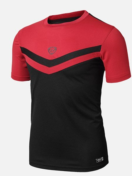 Strip Pattern Bright Color Short Sleeve Cycling Jersey Men Quick Drying Shirt