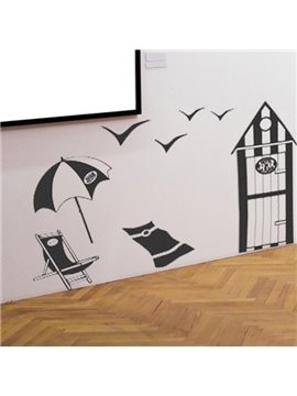 Black Sandbeach and Sea Gull Pattern Wall Sticker