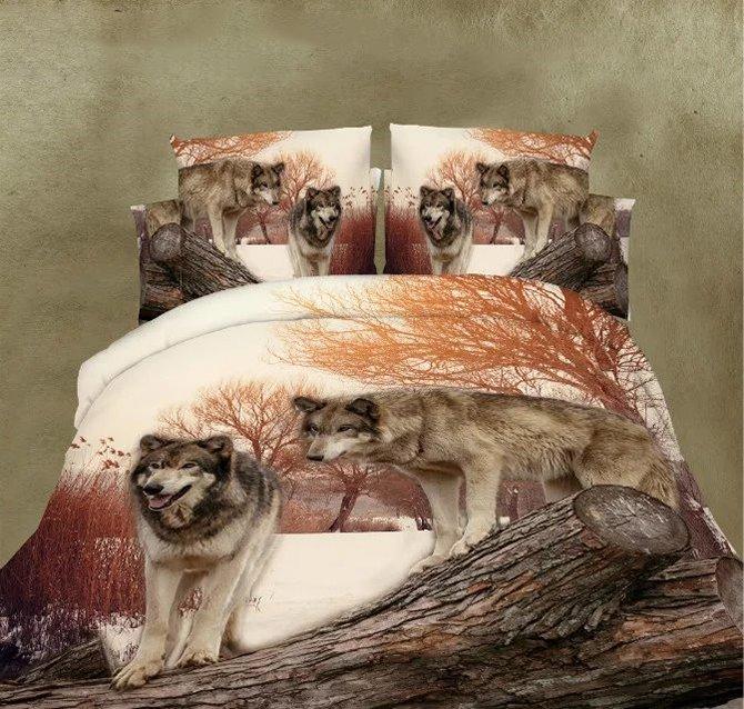 Unique Lifelike Wolf Couple Print 4-Piece Polyester Duvet Cover Sets