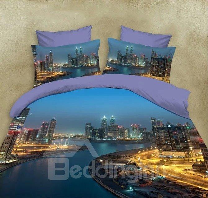 Charming Magnificent Metropolis Printing 4 Pieces Bedding Sets