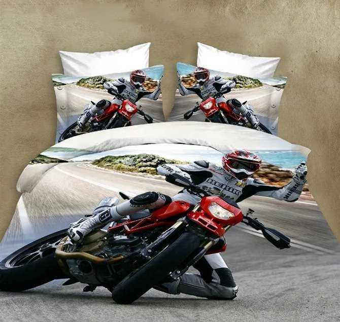 Super Cool Motorcycle Print 4 Pieces Polyester 3D Bedding Sets