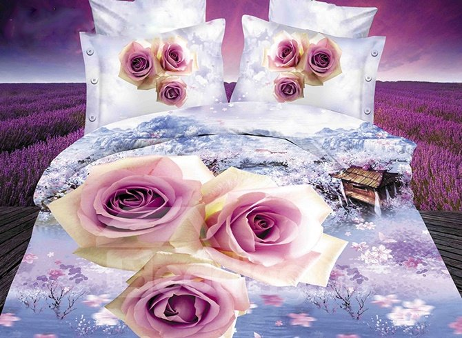 Popular 3D Rose Printing Light Purple 4 Pieces Polyester Bedding Sets
