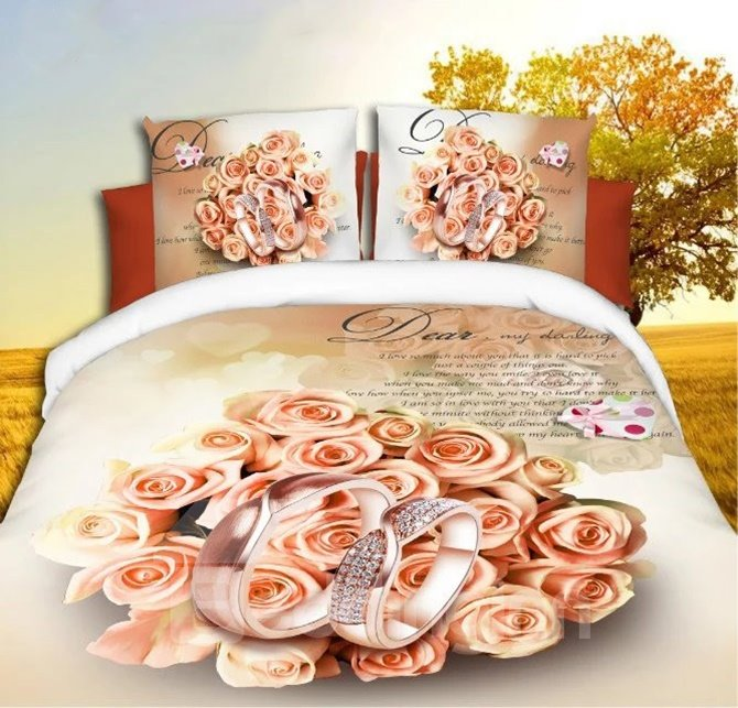 Graceful Romantic Pink Roses and Rings Printing 4-Piece Duvet Cover Sets