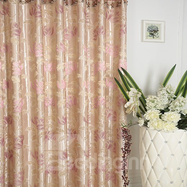 High-Quality Water Lily Pattern Pink Grommet Top Curtain