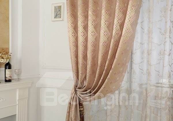 Pink High Precision Jacquard Cloth Argyle Grommet Top Curtain