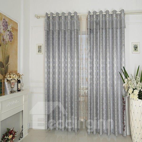 Gray High Precision Jacquard Cloth Argyle Grommet Top Curtain