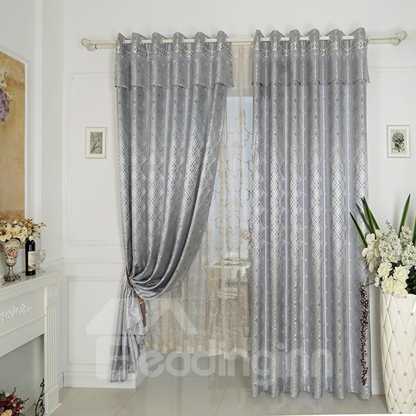 Gray High Precision Jacquard Cloth Argyle Grommet Top Curtain
