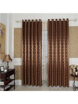 Dark Brown High Precision Jacquard Cloth Argyle Grommet Top Curtain