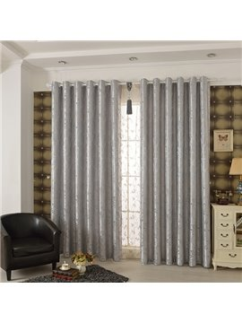 Silvery High Precision Jacquard Cloth Arabesque Grommet Top Curtain