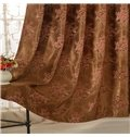 Brown High Precision Jacquard Cloth Peony Pattern Grommet Top Curtain