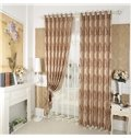 Faux Chenille Jacquard Cloth Printed Pattern Coffee Grommet Top Curtain