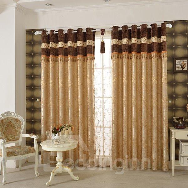 Luxurious Peony Pattern Grommet Top Curtain