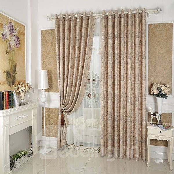 Coffee Tree Pattern Faux Chenille Jacquard Grommet Top Curtain