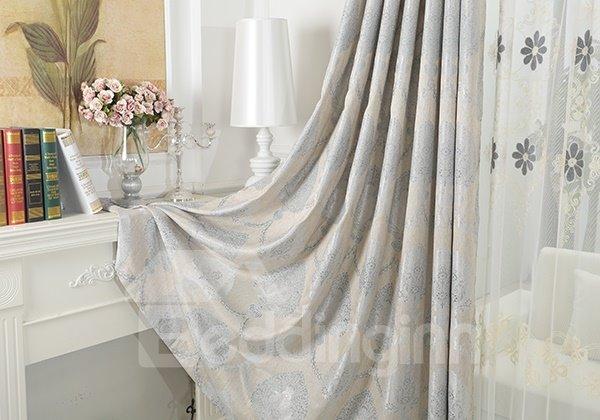 Sliver Decorative Pattern Faux Chenille Jacquard Grommet Top Curtain