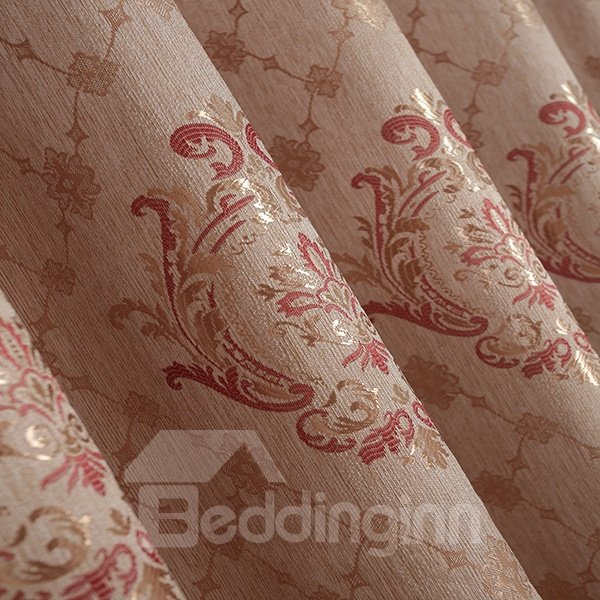 High-Quality Totem Pattern Faux Chenille Jacquard Grommet Top Curtain