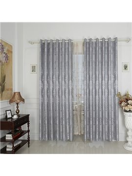 Silver High Precision Silk Jacquard Cloth Grommet Top Curtain