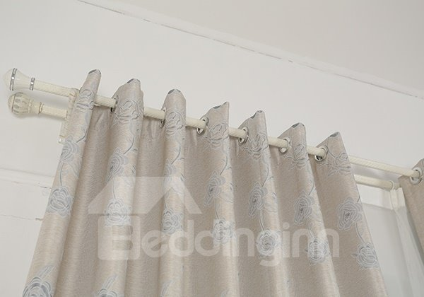 Pure Colored Gray Faux Chenille Jacquard Grommet Top Curtain
