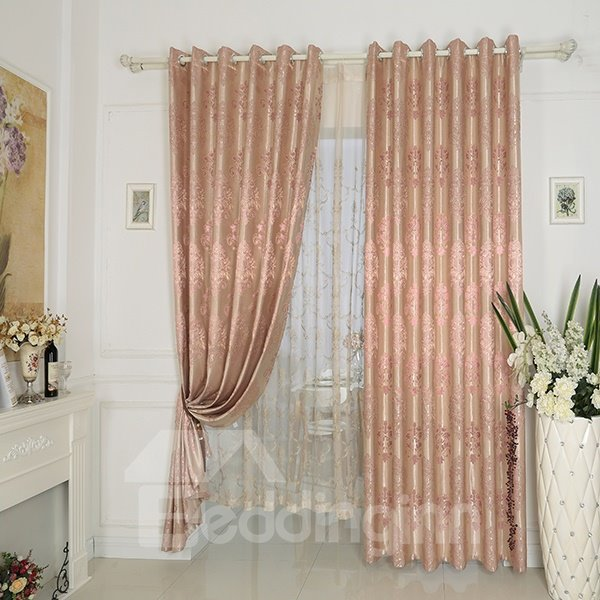 Pink High Precision Silk Jacquard Cloth Grommet Top Curtain
