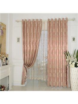 Pink High Precision Silk Jacquard Cloth Grommet Top Curtain