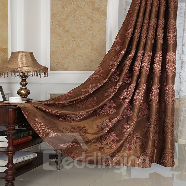 Amazing Detail High Precision Silk Jacquard Cloth Grommet Top Curtain