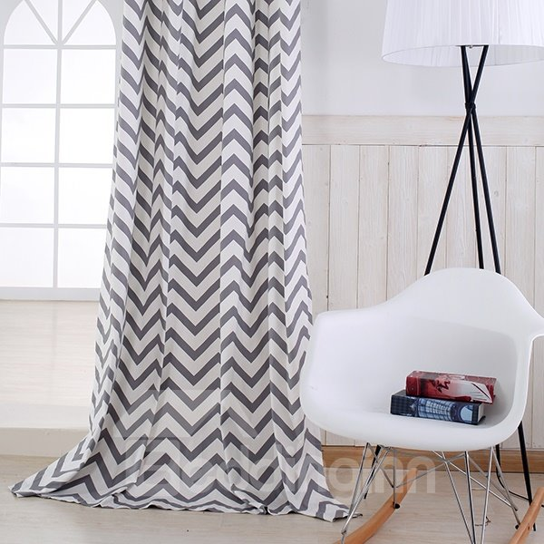Cotton Printing Grey and White Dual Colored Grommet Top Curtain