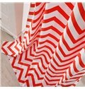 Cotton Printing Red and White Dual Colored Grommet Top Curtain