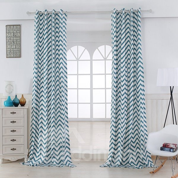 Cotton Printing Blue and White Dual Colored Grommet Top Curtain