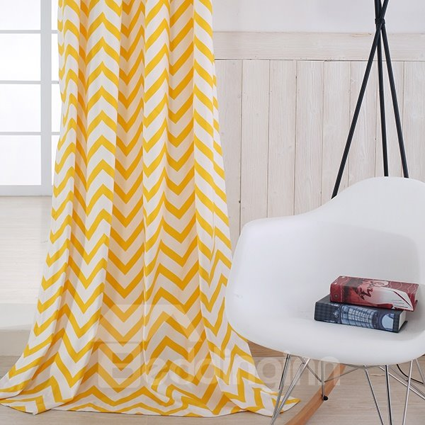 Cotton Printing Yellow and White Dual Colored Grommet Top Curtain