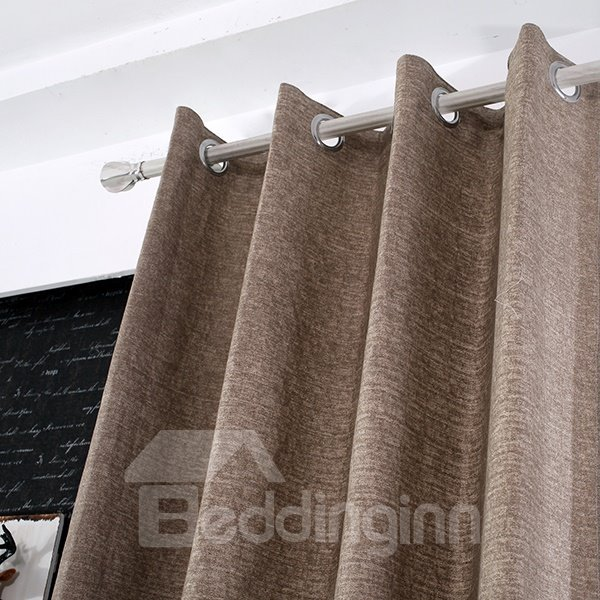 Coarse Cotton Blended Light Brown Grommet Top Curtain