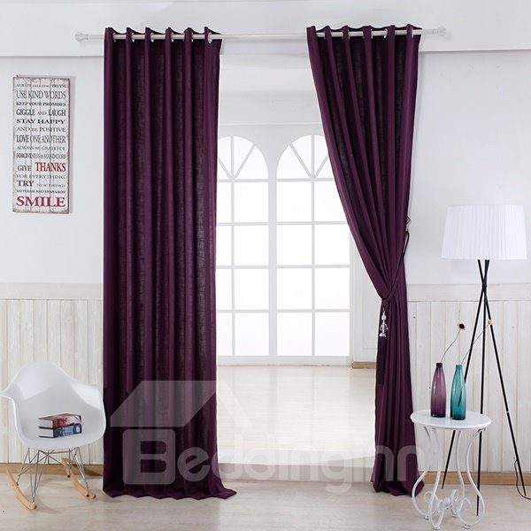 Pure Colored Super Soft Purple Custom Grommet Top Curtain