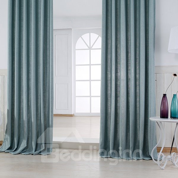 Pure Colored Super Soft Pale Blue Custom Grommet Top Curtain